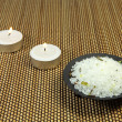 Sea salt and aromatic candles - Stock Photo