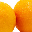 Fragments of 2 oranges isolated — Stock Photo #2299795