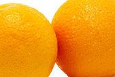 Fragments of 2 oranges isolated — Stock Photo