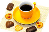 Cup of coffee and cookies — Стоковое фото
