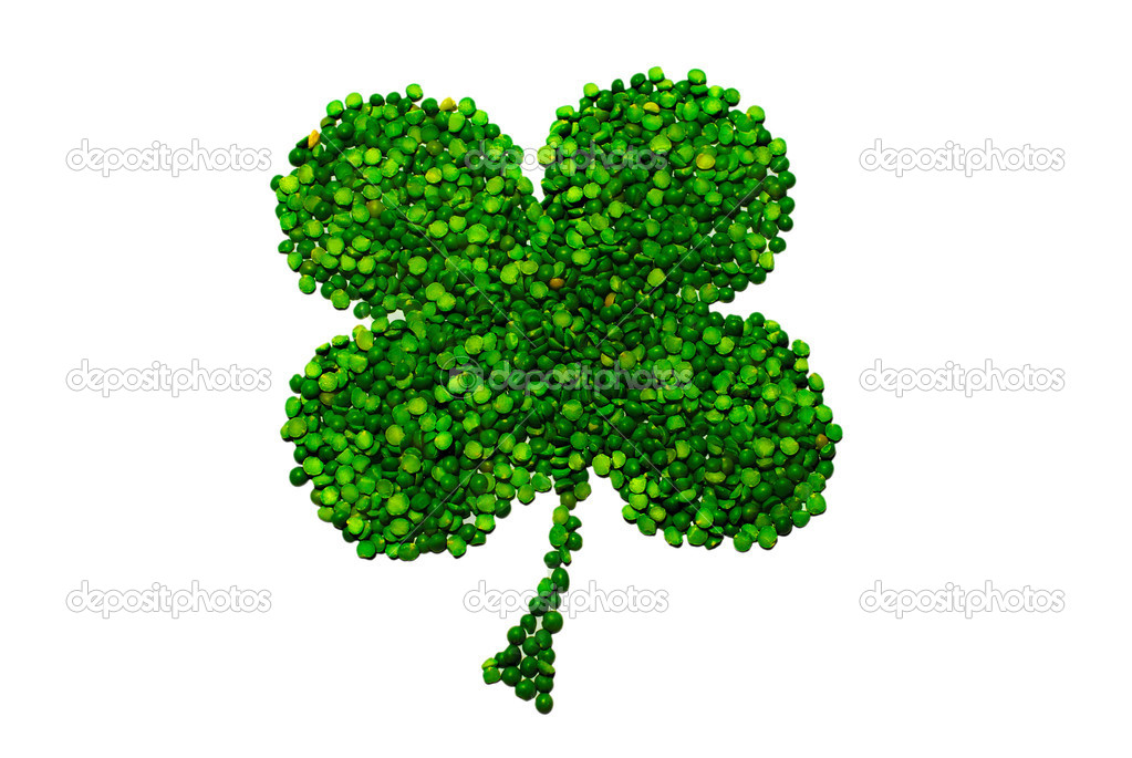 Four-leaf lucky clover made of peas isolated over white background — Stock Photo #2299268