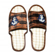 Slippers decorated with anchors — Stock Photo