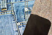 Denim jeans en tweed jas — Stockfoto