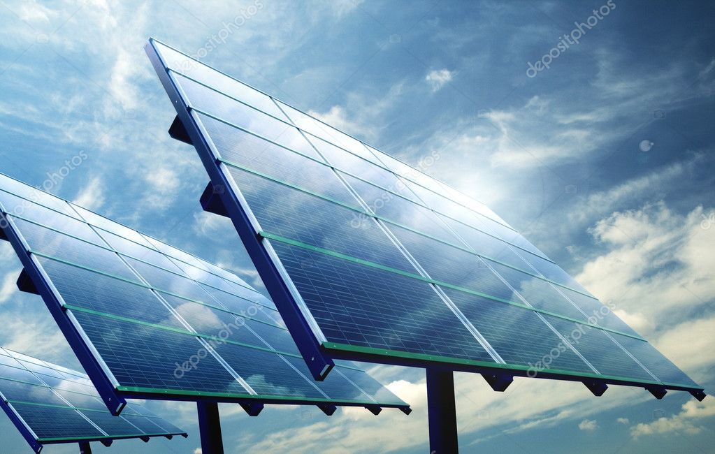 Industrial photovoltaic installation during a sunny day — Stock Photo #2456995