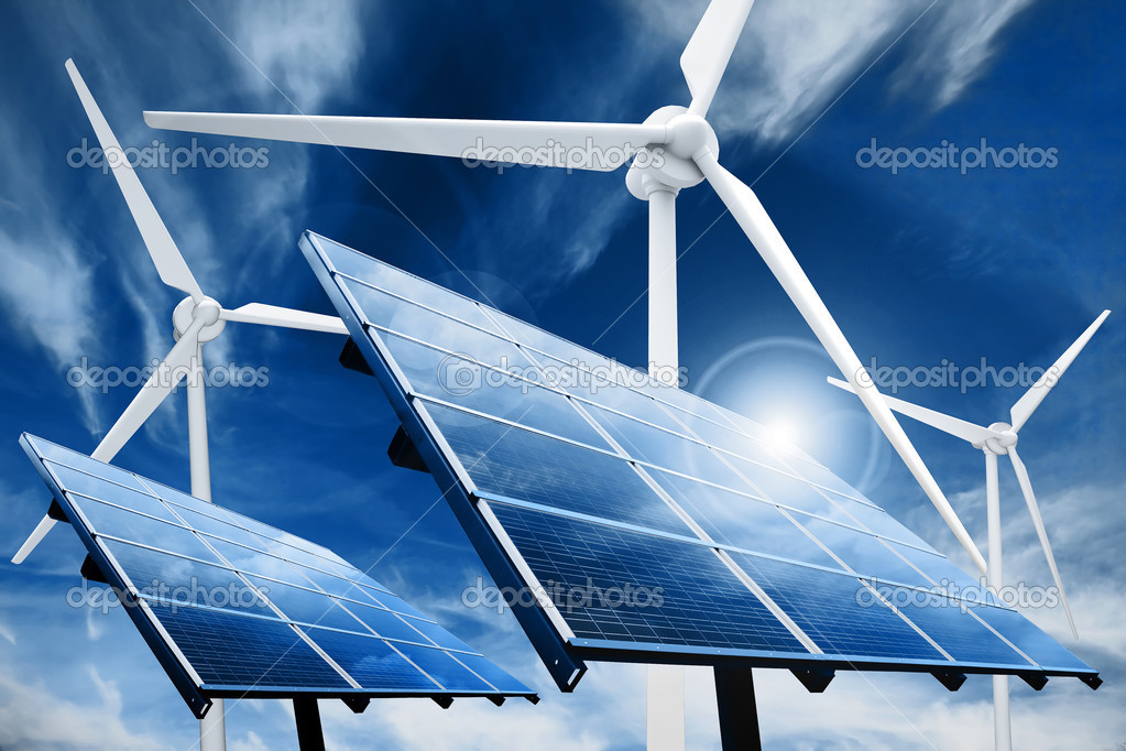 Powerplant with photovoltaic panels and eolic turbine — Foto de Stock   #2574936