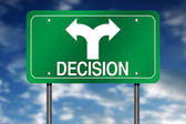 Road Sign with Decision and Arrow — Stock Photo