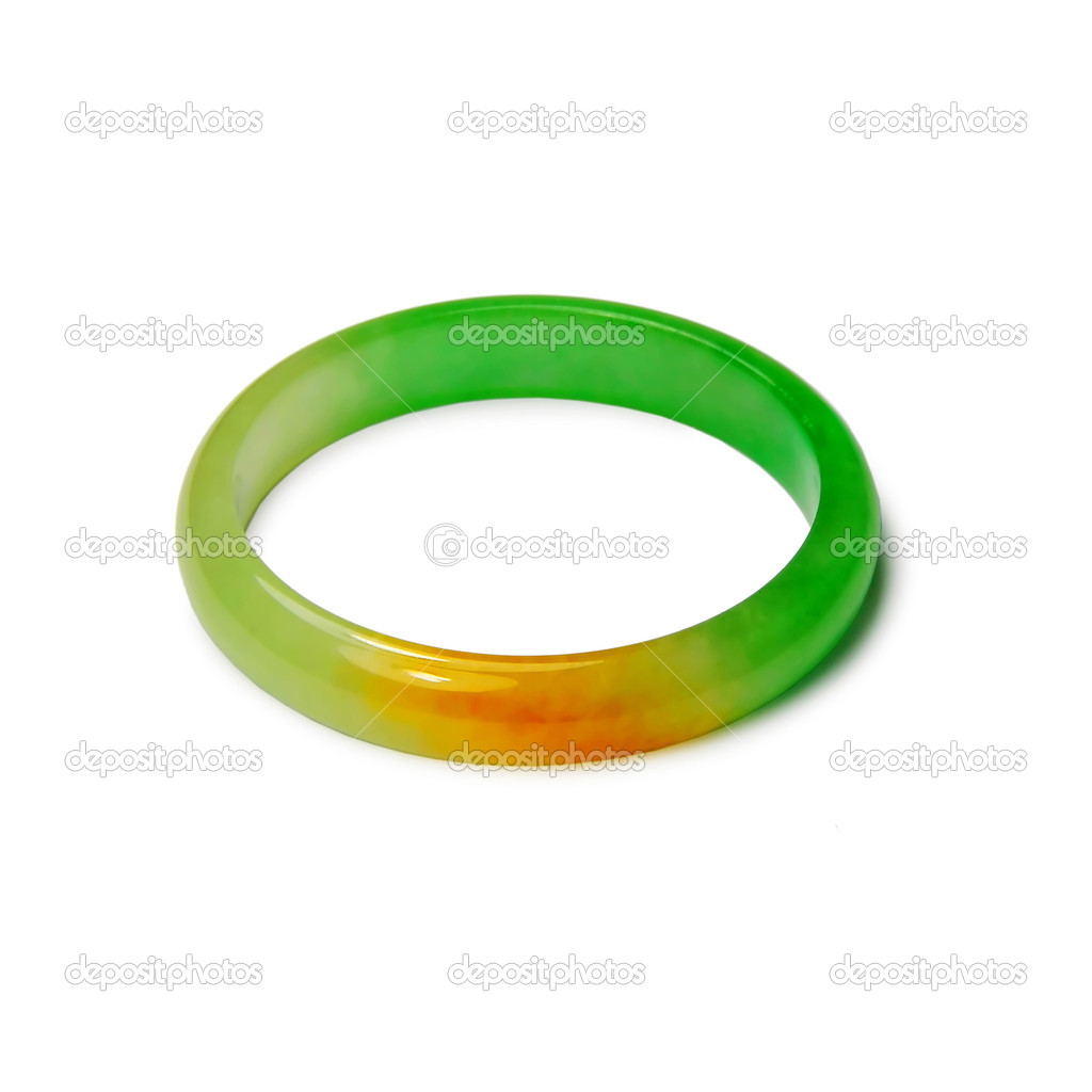 Picture of jade bracelet with white background.  Stock Photo #2375953