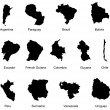 13 South America Country Maps - Stock Vector