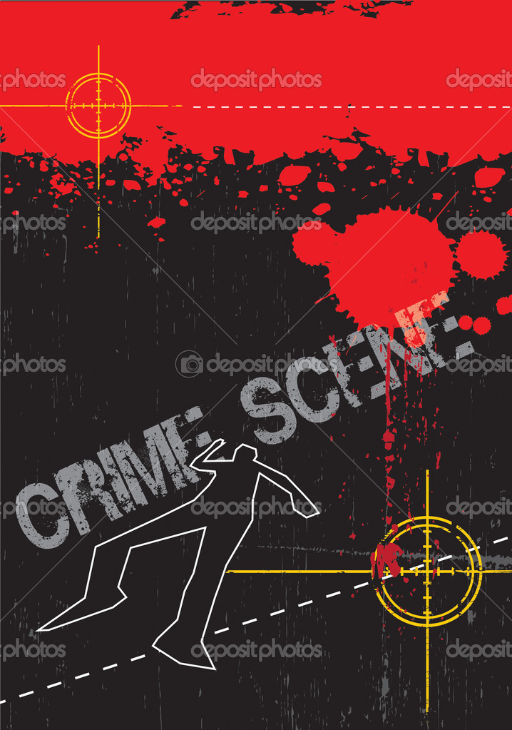 A grunge styled illustration on a crime based theme. Blood,gun targets and body outlines. — Stock Photo #2311843