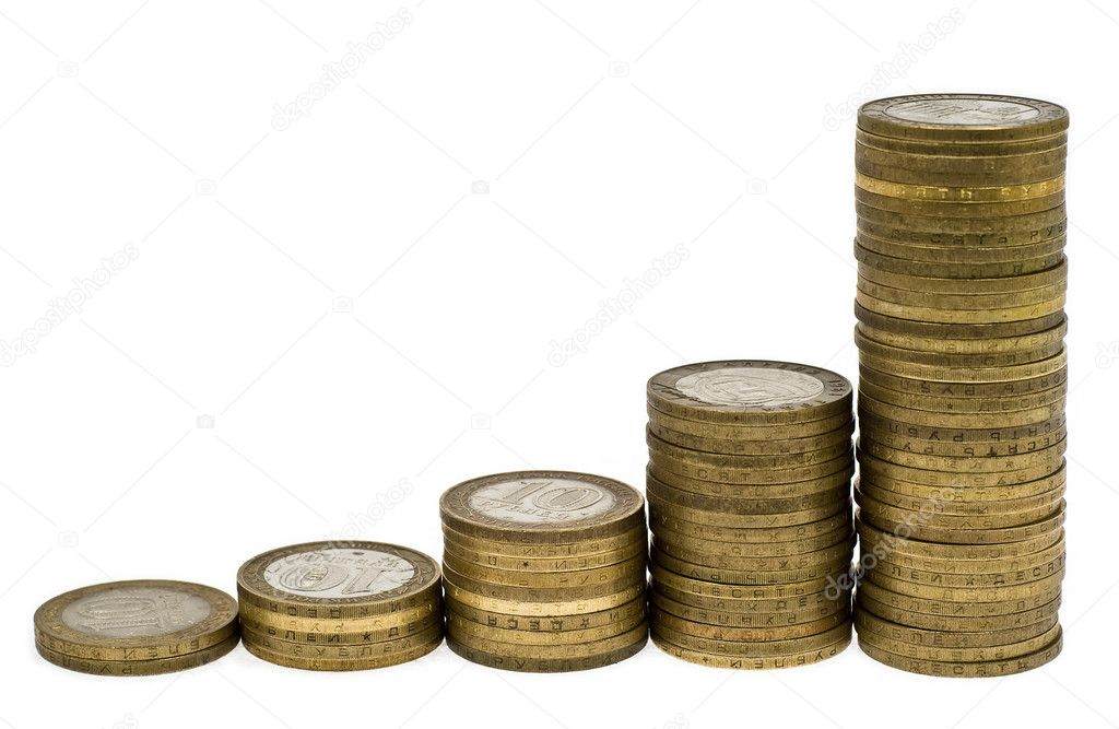 Columns of coins on white background — Stock Photo #2261667