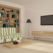 Colored room with bookshelf — Stock Photo #2521032
