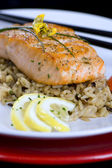 Salmon with wild rice — Stock Photo