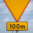 Road Sign 100 M — Stock Photo #2317771