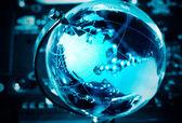蓝色世界地球仪 — 图库照片