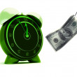 Alarm clock and dollar — Stock Photo