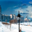 Embankment in winter — Stockfoto