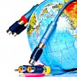 Stock Photo: Cables near earth globe