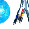 Cables near earth globe — Stock Photo #2446696