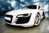 WHITE SPORTS CAR — Stockfoto