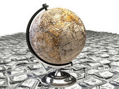 Globe over many american dollar — Stock Photo