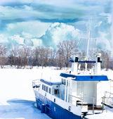 Říční lodě — Stock fotografie
