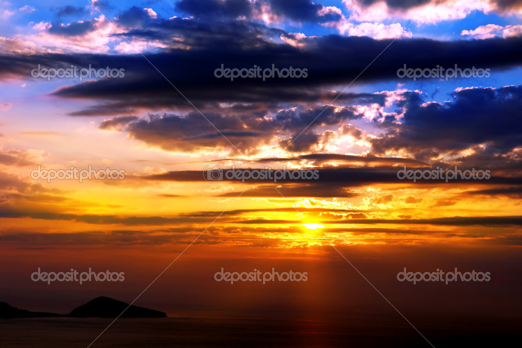Orange And Blue Sunset On Beach                               — Stock Photo #2446372