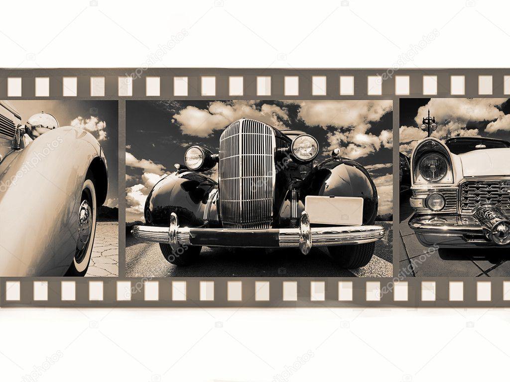 Old vintage car on 35mm black
