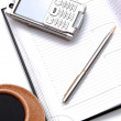 Royalty-Free Stock Photo: Planner with cell-phone and stylus