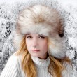 Winter portrait beautiful girl — Stock Photo