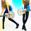 Girls with black guitar — Stock Photo