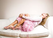 Romantic blonde woman relaxing — Stock Photo