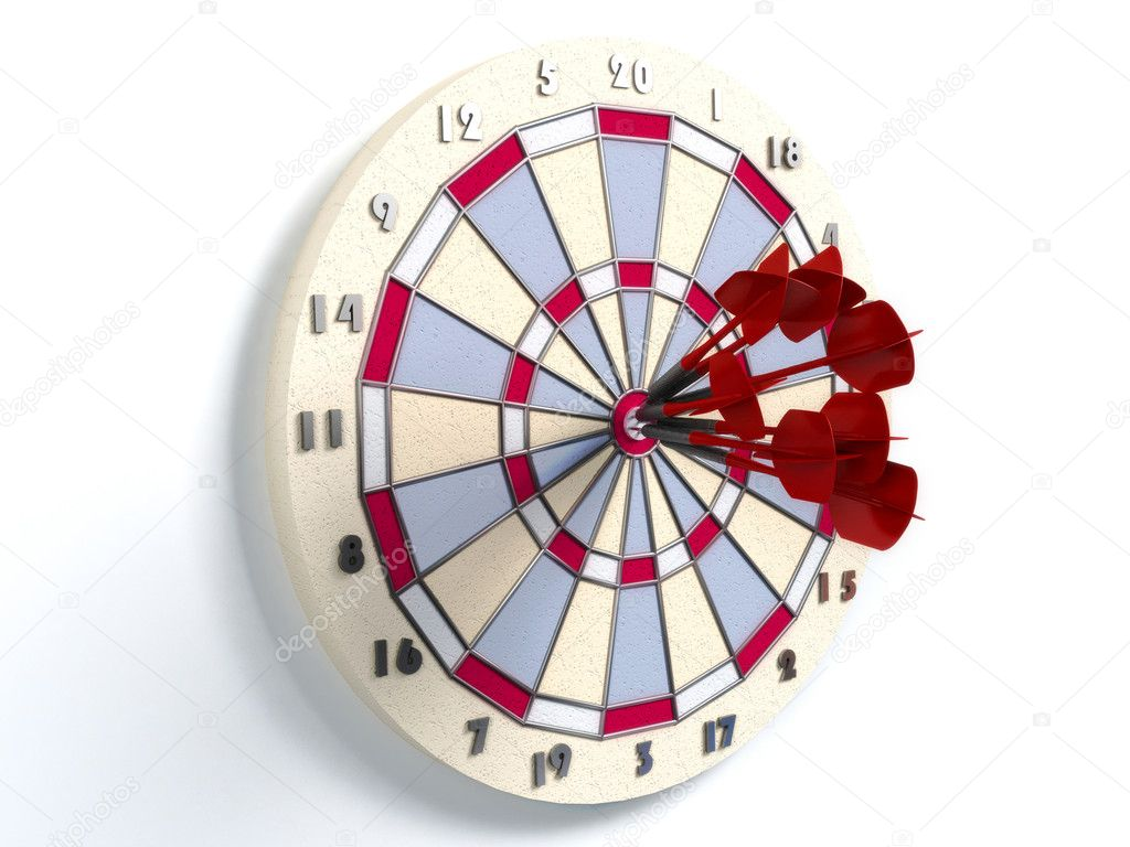 darts hitting directly in bulls eye  — Stock Photo #2542244