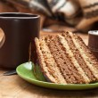 Cake with tea — Stock Photo