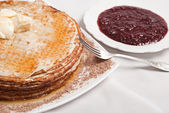 Pancake with jam — Stock Photo