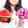 Stock Photo: Girl with gift box