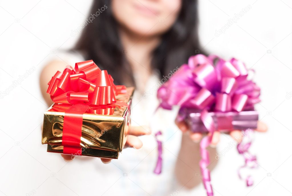 Girl with gift box  Stock Photo #2578387