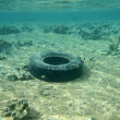Tyre on the ocean bottom — Stock Photo