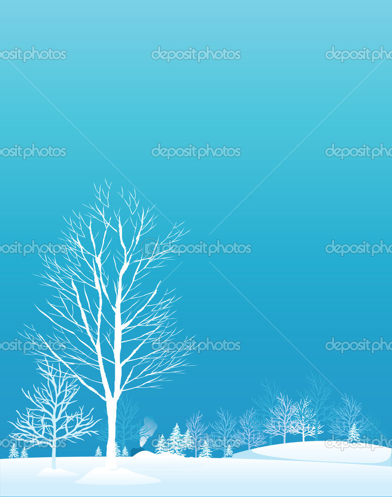 Winter trees.Vector decorative illustration for graphic design. — Stok Vektör #2548663