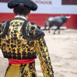 Matador with Bull in Ring — Stock Photo
