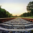 Stock Photo: Railway tracks with pale pastel sunset