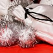Xmas decoration with gift bag — Stock Photo