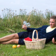 Stock Photo: Young man ready for picnic