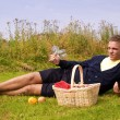 Young man ready for picnic — Stock Photo
