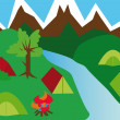 Royalty-Free Stock Vector Image: Camping site in a mountain landscape