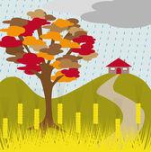 Autumn tree rain and wheat — Stock Vector