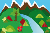 Camping site in a mountain landscape — Stock Vector
