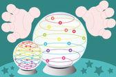 Crystal fortune-teller globe — Stock Vector