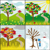 Four seasons on a hill — Stock Vector
