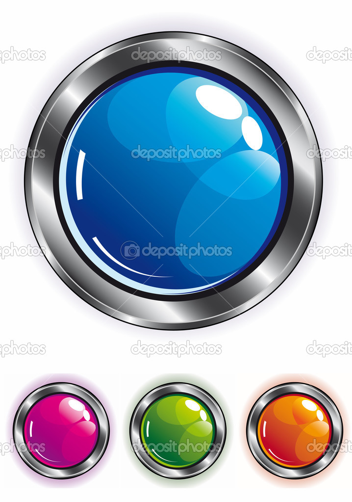 Elegant shiny web button in blue pink green and orange with metal frame — Stock Vector #2383409