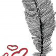 Feather and heart illustration - Stock Vector